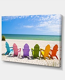 "Designart Adirondack Beach Chairs Seashore Photo Canvas Art Print - 32"" X 16"""