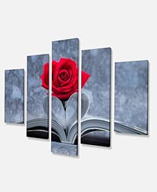 "Designart Red Rose Inside The Book Art Canvas Print - 60"" X 32"" - 5 Panels"