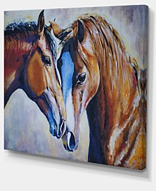 "Designart Brown Amorous Horses Animal Art Canvas Print - 20"" X 12"""