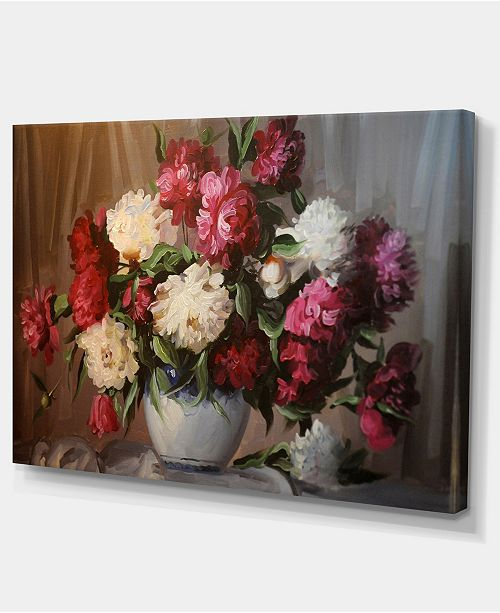"""Design Art Designart Bouquet Of Blooming Peonies Large Floral Wall Art Canvas - 32"""" X 16"""""""