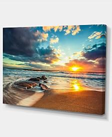 "Designart Beautiful Cloudscape Over The Sea Modern Beach Canvas Art Print - 32"" X 16"""