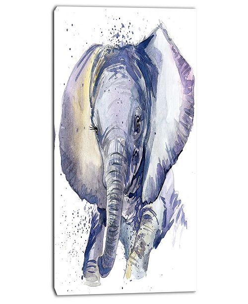 "Design Art Designart Baby Elephant Blue Watercolor Abstract Canvas Art Print - 16"" X 32"""