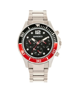 Breed Quartz Pegasus Black and Red Face Multi-Function Silver Alloy Watch 46mm