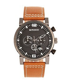 Breed Quartz Ryker Brown Face Chronograph Genuine Camel Leather Watch 45mm
