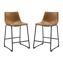 "26"" Faux Leather Counter Stool 2 Pack"