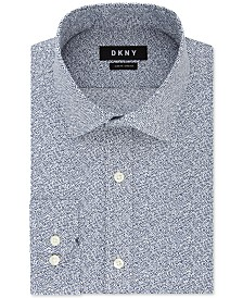DKNY Men's Slim-Fit Stretch Navy Print Dress Shirt