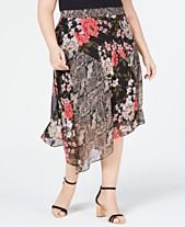 a712cf38f9506 I.N.C. Plus Size Mix-Print Floral Midi Skirt