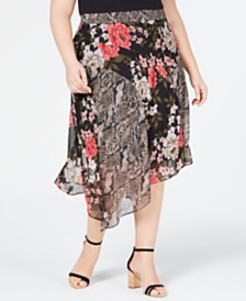 I.N.C. Plus Size Mix-Print Floral Midi Skirt, Created for Macy's