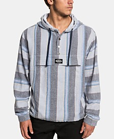Quiksilver Men's Neo Blue Stripe Flannel Hoodie