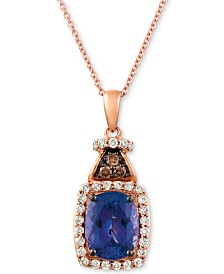 "Le Vian® Blueberry Tanzanite (2 ct. t.w.), Nude Diamond (1/4 ct. t.w.) and Chocolate Diamond Accent 18"" Pendant Necklace in 14k Rose Gold"