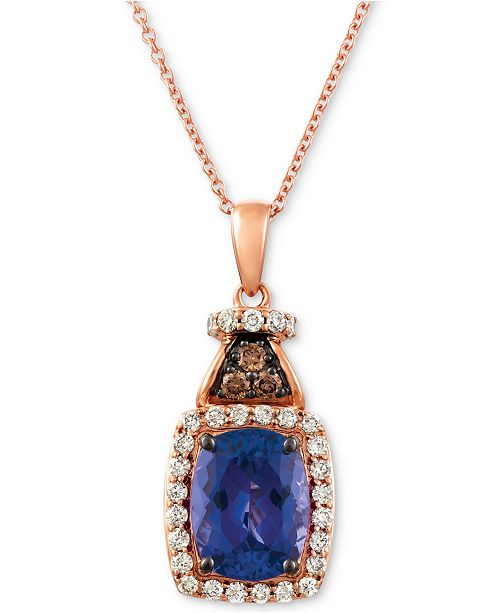"""Le Vian Blueberry Tanzanite (2 ct. t.w.), Nude Diamond (1/4 ct. t.w.) and Chocolate Diamond Accent 18"""" Pendant Necklace in 14k Rose Gold"""