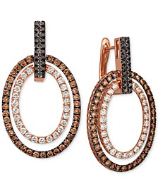 Chocolate Layer Cake™ Blackberry Diamonds®, Chocolate Diamonds® & Nude Diamonds™ Hoop Earrings (3 ct. t.w.) in 14k Rose Gold