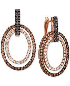 Le Vian® Chocolate Layer Cake™ Blackberry Diamonds®, Chocolate Diamonds® & Nude Diamonds™ Hoop Earrings (3 ct. t.w.) in 14k Rose Gold