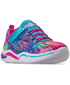 Skechers Little Girls' S Lights: Power Petals - Flowerspark Slip-On Training Sneakers from Finish Line