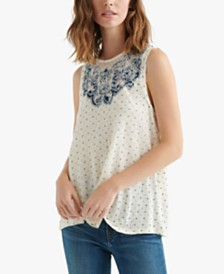 Lucky Brand Printed Appliqué Top