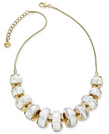 "Alfani Gold-Tone Imitation Pearl Ring Frontal Necklace, 17"" + 2"" extender, Created for Macy's"