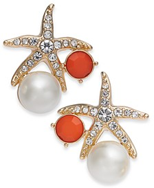 Gold-Tone Crystal and Imitation Pearl Starfish Earrings, Created for Macy's