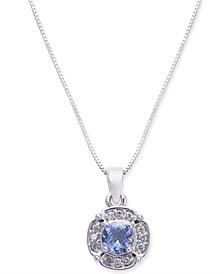 """Tanzanite (3/8 ct. t.w.) & Diamond (1/10 ct. t.w.) 18"""" Pendant Necklace in 10k White Gold"""