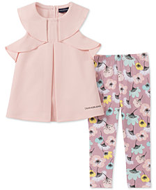 Calvin Klein Baby Girls 2-Pc. Textured Tunic & Floral-Print Leggings Set