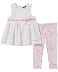 Calvin Klein Baby Girls 2-Pc. Textured Tunic & Printed Leggings Set