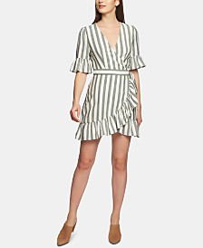 1.STATE Regancy Striped Wrap Dress
