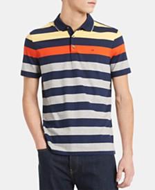 Calvin Klein Men's Liquid Touch Regular-Fit Colorblocked Stripe Polo Shirt