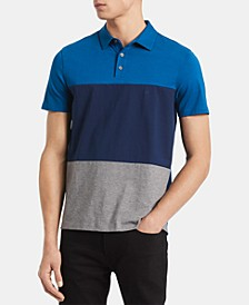 Men's Regular-Fit Colorblocked Engineered Stripe Polo Shirt