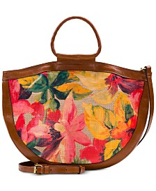 Patricia Nash Spring Multi Straw Oliena Round Handle Satchel