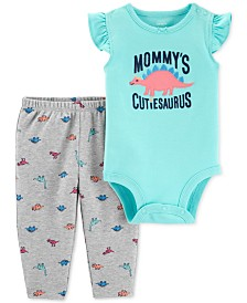 Carter's Baby Girls 2-Pc. Dino-Print Cotton Bodysuit & Printed Pants Set