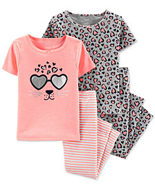 Carter's Baby Girls 4-Pc. Leopard-Graphic Pajamas