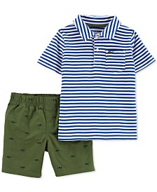 Carte's Baby Boys 2-Pc. Striped Cotton Polo & Shorts Set