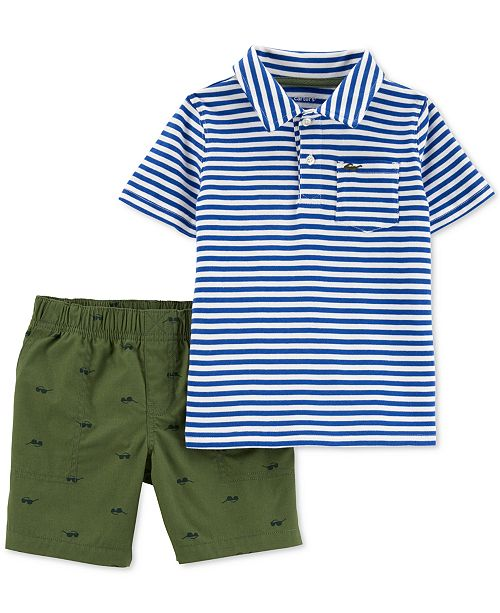 Carter's Carte's Baby Boys 2-Pc. Striped Cotton Polo & Shorts Set