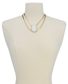 "Thalia Sodi Gold-Tone Large White Stone Double Strand Statement Necklace, 16"" + 3"" extender, Created for Macy's"