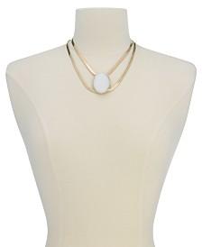 "Thalia Sodi Gold-Tone Large White Stone Double Strand Statement Necklace, 16"" + 3"" extender, Created for Macy's"
