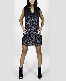 Sleeveless Crepe Dress with Abstract Beaded Animal Pattern