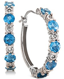 Blue Topaz (9/10 ct. t.w.) & Diamond Accent Hoop Earrings in 14k Rose Gold (Also Available in Amethyst & Garnet)