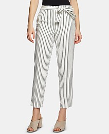 1.STATE Cotton Striped Tie-Waist Pants