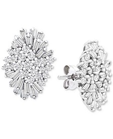 Diamond (1 ct. t.w.) Starburst Earrings in 14k White Gold, Created for Macy's