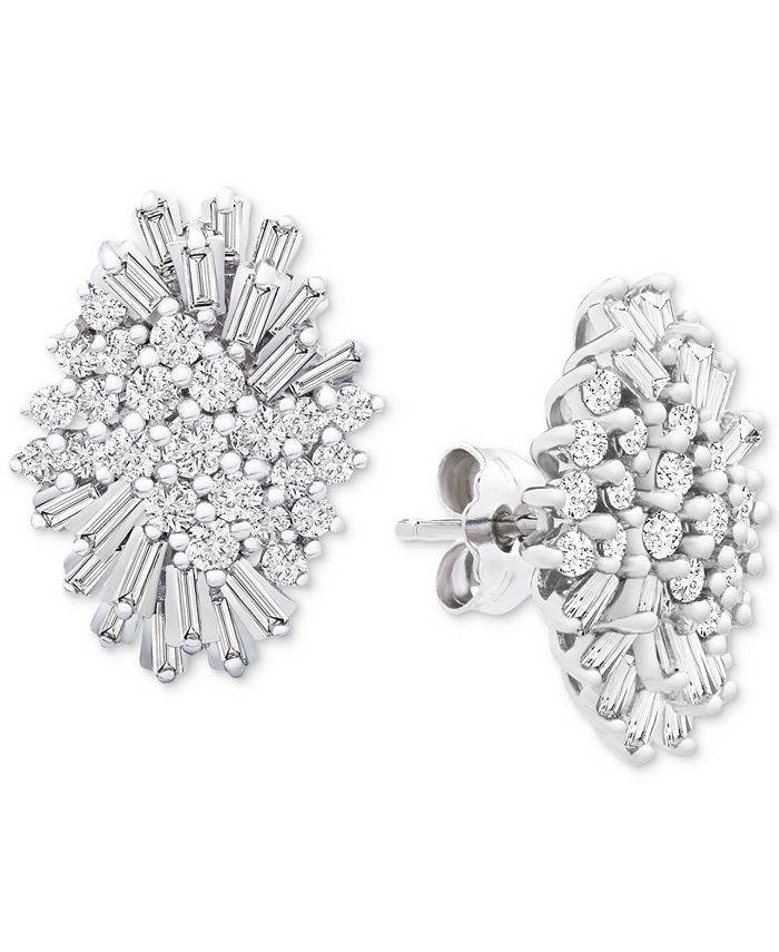 Wrapped in Love - Diamond (1 ct. t.w.) Starburst Earrings in 14k White Gold, Created for Macy's