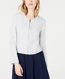Maison Jules Collarless Tweed Zip-Up Jacket, Created for Macy's