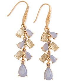 Laundry by Shelli Segal Gold-Tone Stone & Textured Bead Linear Drop Earrings
