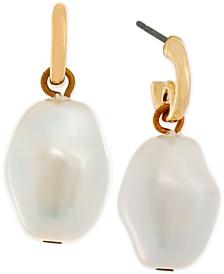 Gold-Tone Imitation Pearl Drop Earrings