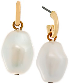 Laundry by Shelli Segal Gold-Tone Imitation Pearl Drop Earrings