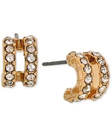 Gold-Tone Pavé Double-Row Mini Hoop Earrings
