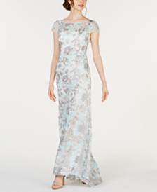 Calvin Klein Floral-Embroidered Gown