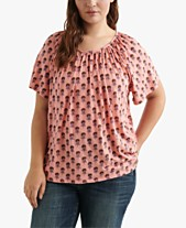 030d342f075a6f Lucky Brand Plus Size Printed Scoop-Neck Top