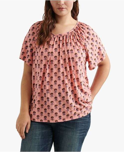 Lucky Brand Plus Size Printed Scoop-Neck Top