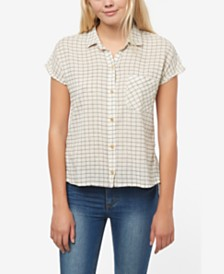 O'Neill Juniors' Neena Cotton Plaid Shirt