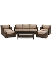 Camden Outdoor Aluminum 6-Pc. Seating Set (1 Sofa, 1 Chair, 1 Swivel Chair, 1 Coffee Table & 2 Ottomans), Created for Macy's