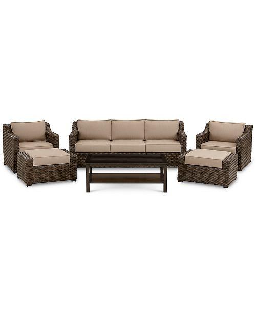 Wondrous Camden Outdoor Aluminum 6 Pc Seating Set 1 Sofa 1 Chair 1 Swivel Chair 1 Coffee Table 2 Ottomans Created For Macys Inzonedesignstudio Interior Chair Design Inzonedesignstudiocom